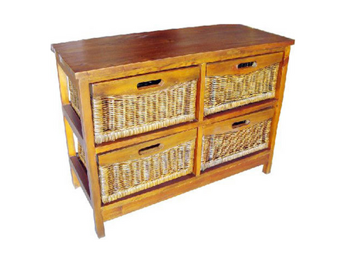 MEXICALI CANE STORAGE DRAWERS / CABINET (WIDE) WITH 4 DRAWERS (V-MEX-4D-W) (MODEL 13-5-24-9-3-1-14-1) - AMERICAN HERITAGE