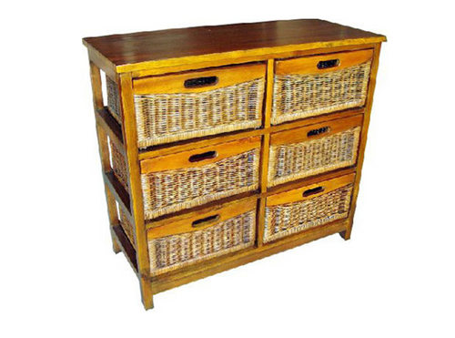 MEXICALI CANE STORAGE DRAWERS / CABINET (TALL) WITH 6 DRAWERS (V-MEX-6D-T) (MODEL 13-5-24-9-3-1-14-1) - AMERICAN HERITAGE