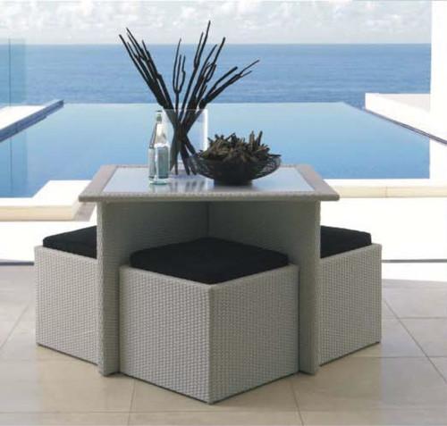 5 PIECE EYDIS SQUARE TABLE SETTING (1 x EYDIS SQUARE TABLE[TK710982/10/S]; 4 X EYDIS STOOL WITH CUSHIONS [BK710982/05]) - WHITE WASH - 1000(L) x 1000(W)