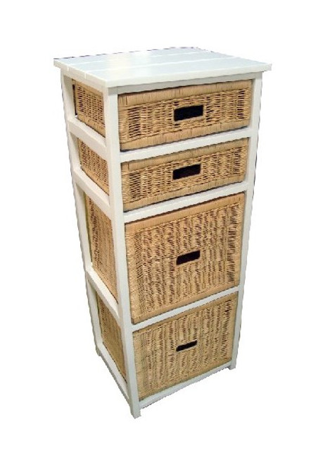 BONDI 4 DRAWER NATURAL CANE TALL CABINET (V-BON-4D-T) - WHITE PAINTED