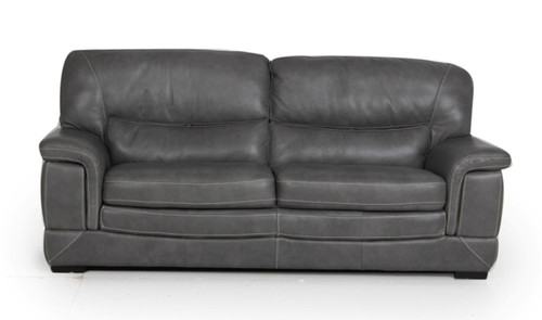 CAMBRIDGE (V-9307) 3 SEATER + 2 SEATER LEATHER LOUNGE SUITE - DARK GREY OR LIGHT GREY