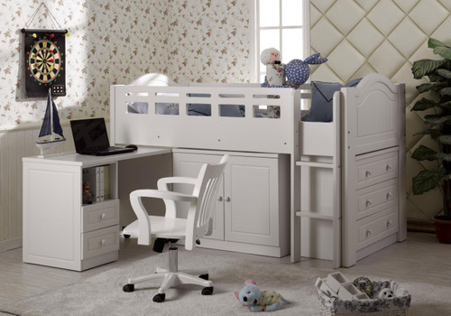 KING SINGLE WALDORF (LS-028) MIDI SLEEPER BUNK BED (MODEL 22-5-18-19-1-9-12-12-5-19) - IVORY WHITE