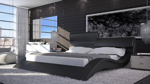 CAPRIOSI QUEEN 3 PIECE BEDSIDE BEDROOM SUITE (WITH #25 BEDSIDES) - LEATHERETTE - ASSORTED COLOURS