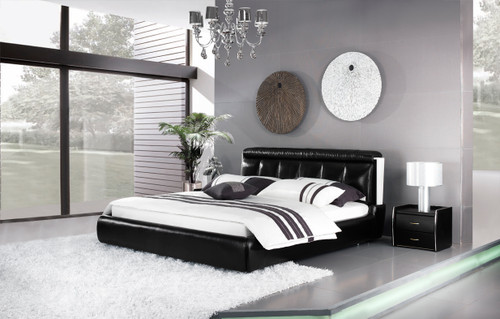 QUEEN COLLEGNO LEATHERETTE BED (A9301) - ASSORTED COLOURS - (WITH OPTIONAL UPGRADE FOR GAS LIFT UNDERBED STORAGE)