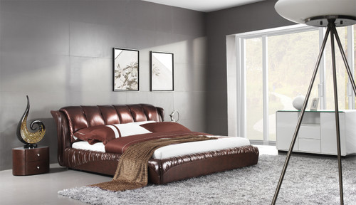 KING FOLIGNO LEATHERETTE BED (A9307) - ASSORTED COLOURS - (WITH OPTIONAL UPGRADE FOR GAS LIFT UNDERBED STORAGE)
