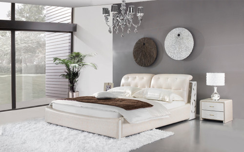 KING VASERIA LEATHERETTE BED (A9318) - ASSORTED COLOURS - (WITH OPTIONAL UPGRADE FOR GAS LIFT UNDERBED STORAGE)