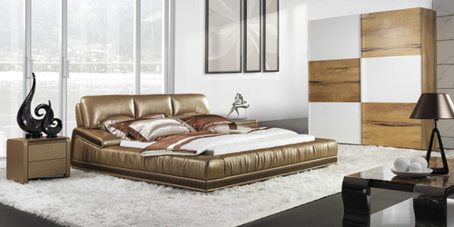 QUEEN ABRO LEATHERETTE BED (A9963) - ASSORTED COLOURS - (WITH OPTIONAL UPGRADE FOR GAS LIFT UNDERBED STORAGE)