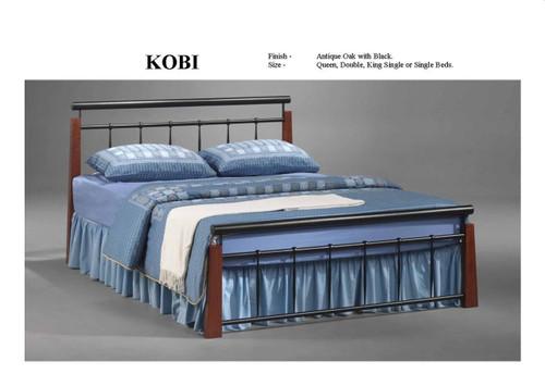 SINGLE KOBI BED - ANTIQUE OAK / BLACK