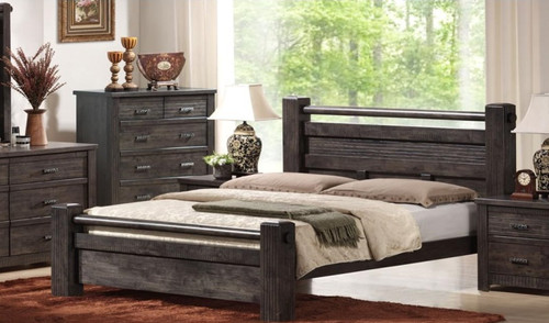 ASHCOURT QUEEN 3 PIECE BEDSIDE BEDROOM SUITE  (5-4-9-19-15-14) -  CHARCOAL