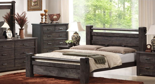 ASHCOURT  QUEEN 5 PIECE DRESSER BEDROOM SUITE (5-4-9-19-15-14)  - CHARCOAL