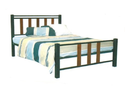 QUEEN LONDON  BED - BLACK POWDER COAT WITH BALTIC TIMBER STAIN