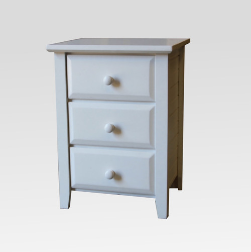 MANILLA 3 DRAWER BEDSIDE - WHITE , ANTIQUE WHITE , WHITEWASH & BRUSHED COLOURS