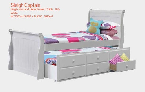 SINGLE SLEIGH CAPTAINS BED WITH UNDERBED STORAGE & SINGLE TRUNDLE - WHITE