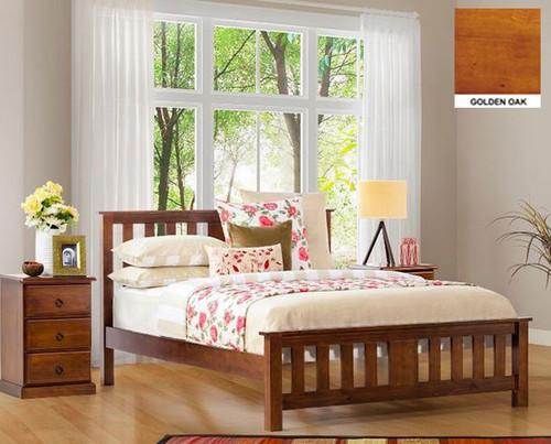 CARRINGTON DOUBLE OR QUEEN 3 PIECE BEDSIDE BEDROOM SUITE WITH STANDARD CASE GOODS - CHOCOLATE
