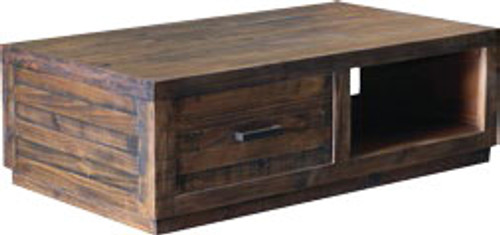 AUCKLAND 1270 COFFEE TABLE WITH 2 DRAWERS (3327) -  405(H) X 1270(W) X 450(D) - SMOKEY GUM