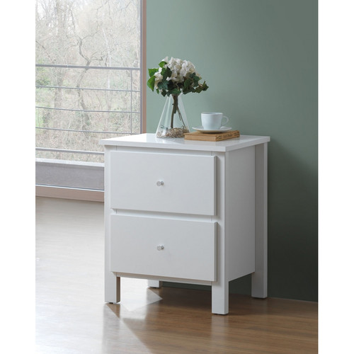 EMPRESS  2 DRAWER HARDWOOD /MDF  BEDSIDE TABLE  (2-18-15-4-9-5) - WHITE