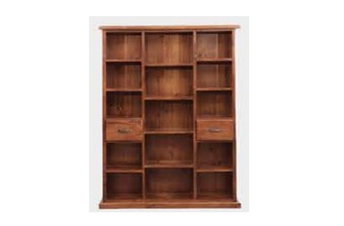 SPRING 2 DRAWER BOOKCASE - 2000(H) x 1300(W) - ROUGH SAWN (1167) OR DARK CHOCOLATE