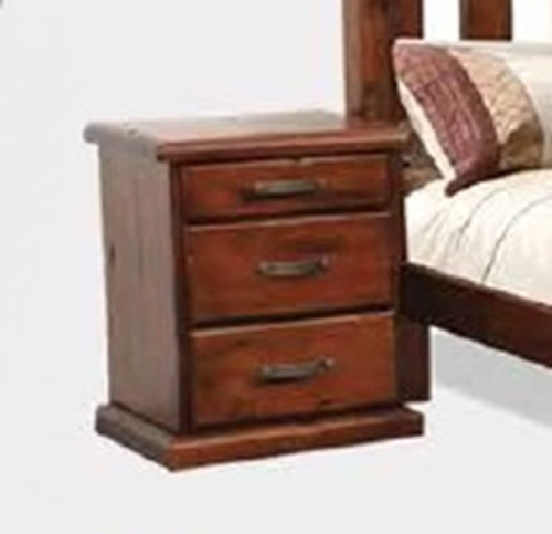 SPRING 3 DRAWER BEDSIDE TABLE - ROUGH SAWN (1083)