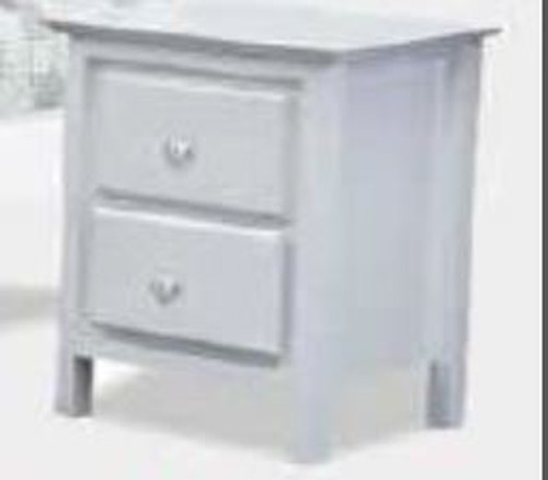 NICKY 2 DRAWER BEDSIDE TABLE - WHITE (1375)