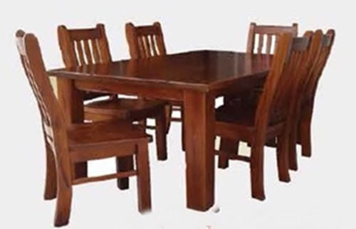 SPRING (1.5 X 1.5) 9 PIECE DINING SETTING (PRICED WITH 8 CHAIRS) - ROUGH SAWN (1098)