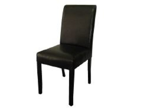 RAY LEATHERETTE DINING CHAIR (MODEL: RC4) - BLACK LEATHERETTE WITH WENGE LEGS