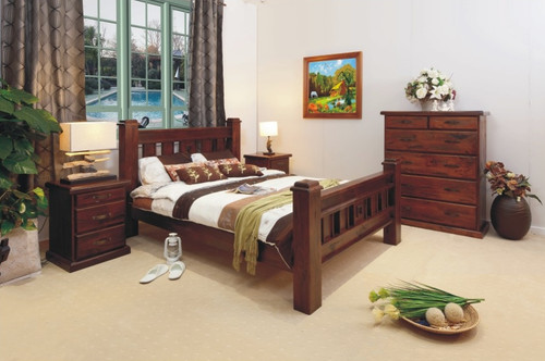 RUSTIC DOUBLE 3 PIECE BEDSIDE BEDROOM SUITE