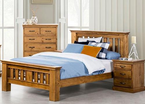 KIPLING (OR-172) DOUBLE OR QUEEN 4 PIECE TALLBOY BEDROOM SUITE - LIGHT OAK