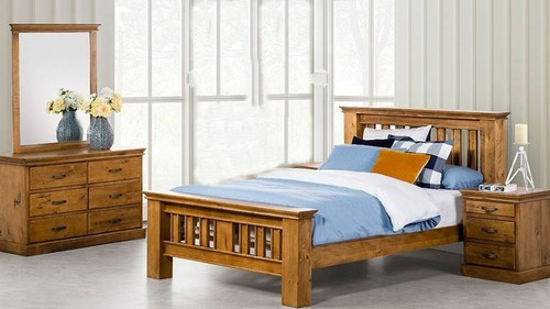 KIPLING (OR-172) KING 5 PIECE DRESSER BEDROOM SUITE - LIGHT OAK
