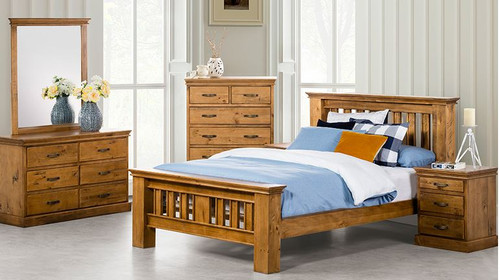 KIPLING  DOUBLE OR QUEEN 6 PIECE (THE LOT) BEDROOM SUITE - LIGHT OAK