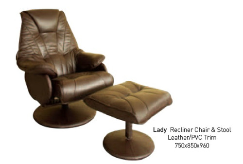 LADY RECLINER CHAIR AND STOOL - LEATHER / LEATHERETTE COMBINATION - CHOCOLATE, BLACK OR IVORY