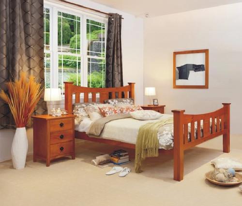 SEATTLE DOUBLE OR QUEEN 3 PIECE BEDSIDE BEDROOM SUITE - GOLDEN OAK (AL1)
