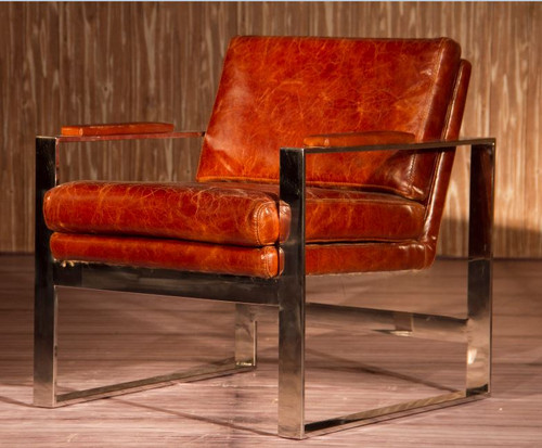 MONTALCINO (2011) 1 SEATER FULL LEATHER + STAINLESS STEEL CHAIR