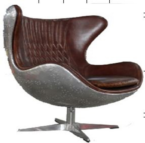 ASTI (2016) 1 SEATER FULL LEATHER + ALUMINIUM CHAIR  WITH LASHING POINT