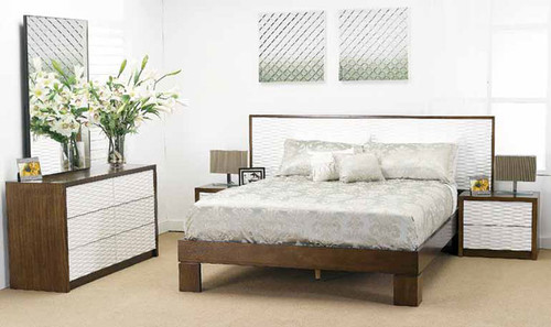 WAVES KING 4 PIECE TALLBOY BEDROOM SUITE - WALNUT AND WHITE
