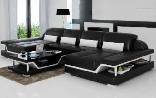 BORI  (G8004E) CHAISE SUITE + COFFEE TABLE - CHOICE OF LEATHER AND ASSORTED COLOURS AVAILABLE