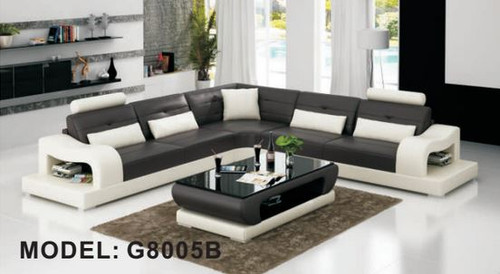 ELLERTON (G8005B) CORNER LOUNGE SUITE + COFFEE TABLE - CHOICE OF LEATHER AND ASSORTED COLOURS AVAILABLE