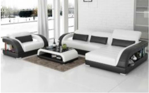 DANLILY (G8016E) CHAISE LOUNGE + COFFEE TABLE - CHOICE OF LEATHER AND ASSORTED COLOURS