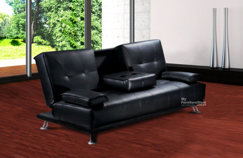 DALE CLICK CLACK LEATHERETTE SOFA BED WITH DRINK TRAY / CUP HOLDER - BROWN (PICTURED IN BLACK)