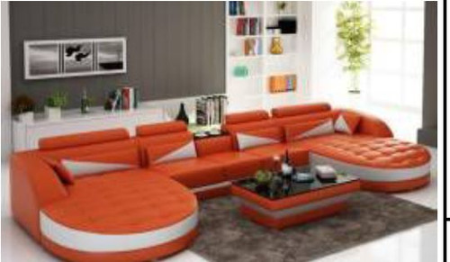 YORO (G8018D) DOUBLE CHAISE LOUNGE + COFFEE TABLE  - CHOICE OF LEATHER AND ASSORTED COLOURS AVAILABLE