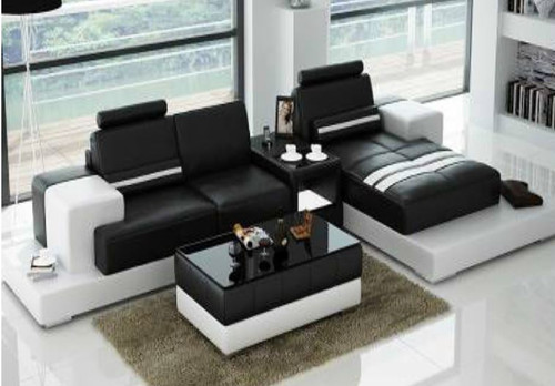 RANMONT (L6004D) CHAISE LOUNGE  SUITE +  COFFEE TABLE - CHOICE OF LEATHER AND ASSORTED COLOURS AVAILABLE