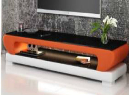 ANGLET (TS1002) TV STAND   - FULL PVC + 2 TEMPERED GLASS + LIGHT - 1950(W)