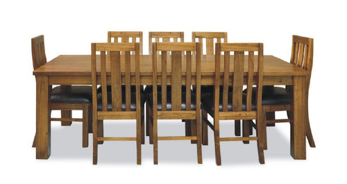 RADIUS  (VTO-009) 7 PIECE DINING SETTING WITH TIMBER OR LEATHERETTE UPHOLSTERED SEAT (20-15-19-3-1-14-1) - 1900(L) X 1000(W)