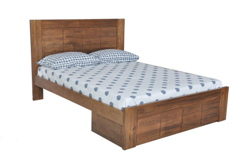 QUEEN CUBA BED WITH UNDERBED STORAGE DRAWERS - DRIFTWOOD EARTH
