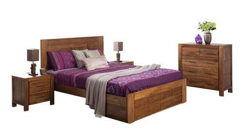 CUBA KING 3 PIECE BEDSIDE BEDROOM SUITE WITH UNDERBED STORAGE DRAWERS - DRIFTWOOD EARTH