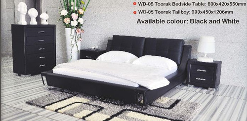 TOORAK (WD- 05)  QUEEN 4 PIECE TALLBOY BEDROOM SUITE - LEATHER/ETTE COMBINATION - BLACK OR WHITE