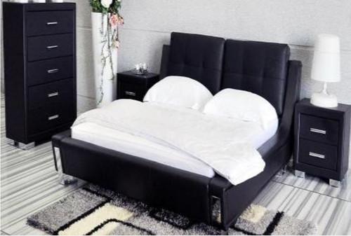 KING TOORAK (WD- 05)3 PIECE BEDSIDE BEDROOM SUITE  - LEATHER/ETTE COMBINATION - BLACK OR WHITE