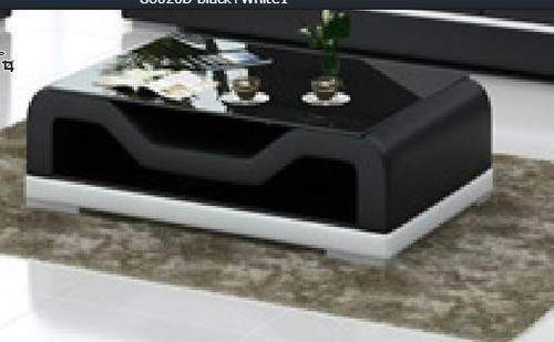 MAYOR (G8020D)   FULL LEATHERETTE + 2 TEMPERED GLASS  COFFEE TABLE - 420(H) X 1200(W) X 700(D)-  ASSORTED COLOURS AVAILABLE