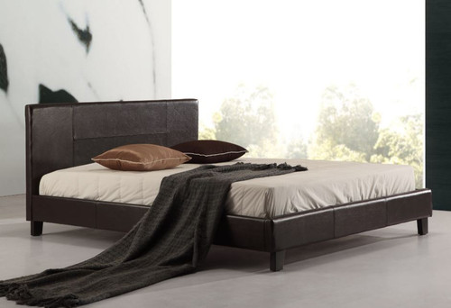 DOUBLE ING-DBFB-Brown) LEATHERETTE  BED FRAME  - BROWN