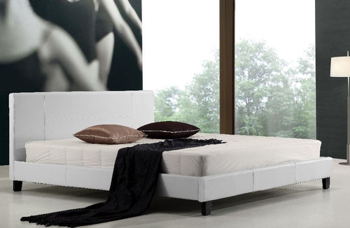 KING (ING-KBFB) LEATHERETTE  BED FRAME  - WHITE