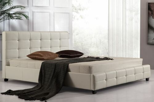 KING PALERMOR (ING-KBGC-WHITE) LEATHERETTE  DELUXE BED  -  WHITE